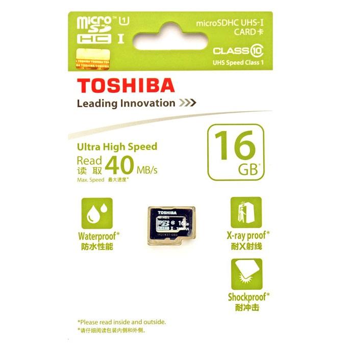... Toshiba MicroSDHC UHS-I Class 10 (40MB/s) 16GB - SD- ...