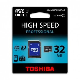 Toshiba MicroSDHC UHS-I Class 10 (30MB/s) 32GB withSD Card Adapter - SD-C032UHS1(BL5A - Black - 3