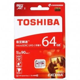 Toshiba Exceria MicroSDXC UHS-I Class 10 U3 (90MB/s) 64GB - THN-M302R0640C4 - Black - 2