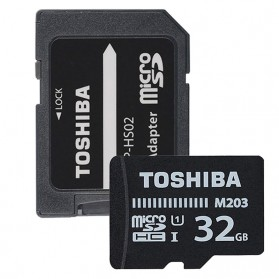 Toshiba M203 MicroSDHC UHS-I Class 10 (100MB/s) 32GB with Adapter - THN-M203K0320EA - Black