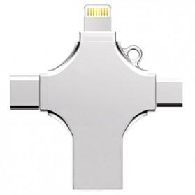 Ingelon Flashdisk i-Flash Drive 4 in 1 OTG Micro USB + Lightning + Type C 32GB - Y-Disk - Silver