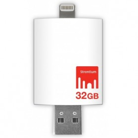 Strontium Nitro iDrive OTG USB 3.0 Flash Drive 32GB Lightning 8 Pin for iOS 10 & Mac / PC - SR32GWHOTGAZ - White