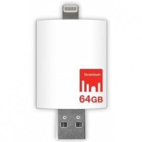 Strontium Nitro iDrive OTG USB 3.0 Flash Drive 64GB Lightning 8 Pin for iOS 10 & Mac / PC - SR64GWHOTGAZ - White