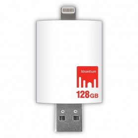 Strontium Nitro iDrive OTG USB 3.0 Flash Drive 128GB Lightning 8 Pin for iOS 10 & Mac / PC - SR128GWHOTGAZ - White