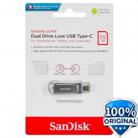 SanDisk Ultra Dual Drive Luxe USB Type C 3.1 Flashdisk 512GB - SDDDC4 - Silver