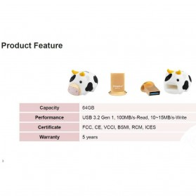 Kingston Milk 100% Chinese New Year Cow Limited Edition Flashdisk USB 3.2 64GB - DTCNY21 - White - 3