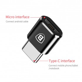 Baseus Micro USB Female to USB Type C OTG Adapter - CAMOTG-01 - Black - 9