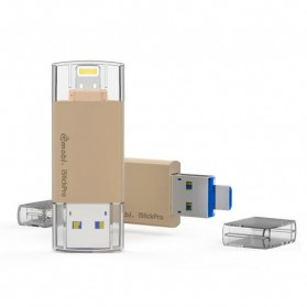 Laptop / Notebook - Gmobi iStick Pro 3 in 1 Micro Lightning USB 3.0 Flashdisk 64GB - Golden