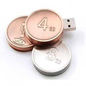 Mini Coin Shape USB 2.0 Flashdisk 16GB - Copper - 1