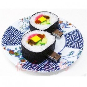 Round Sushi Shape USB 2.0 Flashdisk 16GB - Black