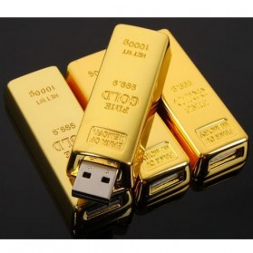 Gold Bar USB 2.0 Flash Drive - 16GB - Golden - 6