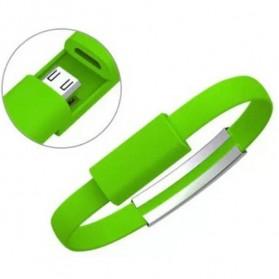Kabel Micro USB Bentuk Gelang Silikon - Green