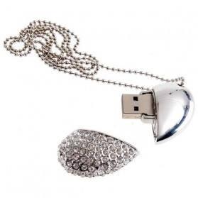 Crystal Rhinestone Heart Necklace USB 2.0 Flash Drive - 16GB - Silver - 2