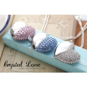 Crystal Rhinestone Heart Necklace USB 2.0 Flash Drive - 16GB - Silver - 5