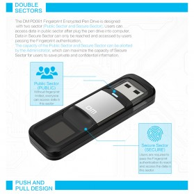 DM Flashdisk Enkripsi Fingerprint 32GB - PD061 - Black - 7