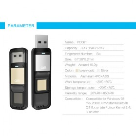 DM Flashdisk Enkripsi Fingerprint 32GB - PD061 - Black - 8