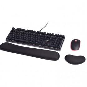 Sovawin 2 in 1 Ergonomic Wrist Rest Pad Support + Keyboard Pad Silicon Gel - SH-JPD - Black
