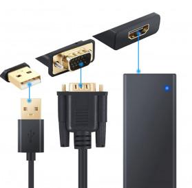 TXR Kabel Adapter VGA to HDMI with USB Power - AY55 - Black - 3