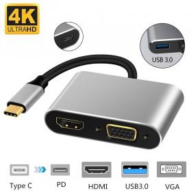 Linkey Adapter USB Type C to HDMI VGA PD Charging 4K 87W - D87 - Gray - 7