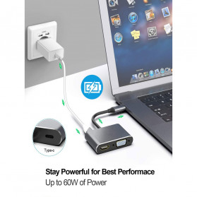 Linkey Adapter USB Type C to HDMI VGA PD Charging 4K 87W - D87 - Gray - 8