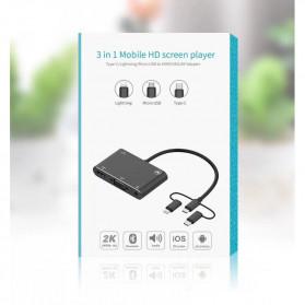 BUBM Adapter Hub USB Type C/Lightning/MicroUSB to HDMI/VGA/AV - OT7585B - Black - 6