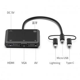 BUBM Adapter Hub USB Type C/Lightning/MicroUSB to HDMI/VGA/AV - OT7585B - Black - 2