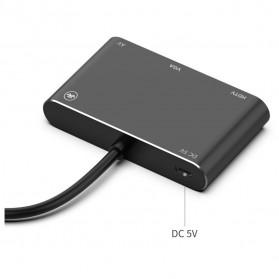 BUBM Adapter Hub USB Type C/Lightning/MicroUSB to HDMI/VGA/AV - OT7585B - Black - 3