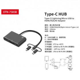BUBM Adapter Hub USB Type C/Lightning/MicroUSB to HDMI/VGA/AV - OT7585B - Black - 4