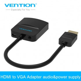 Vention Adapter Converter HDMI to VGA with Audio & Power Supply Port - ACHBB - Black