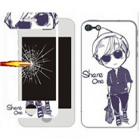 Tempered Glass and Painted Phone Case for iPhone 6 Plus - 006