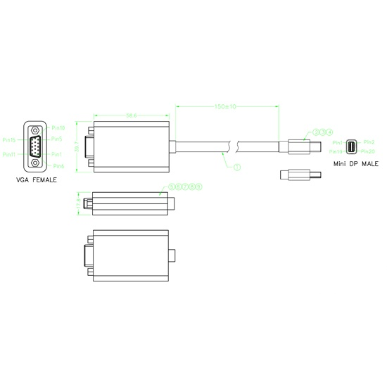Mini display port male to vga female adapter mini dp f mini display port male to vga female adapter mini dp f 4 ccuart Image collections