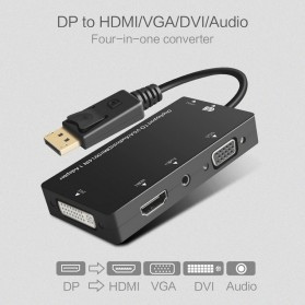 FSU Adapter Converter DisplayPort to HDMI VGA DVI with Audio - DP1IN4 - Black - 2