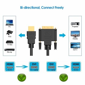 FSU Kabel Video Adapter HDMI to DVI 24+1 Pin 1080P 1.8M - BL-DH - Black - 5