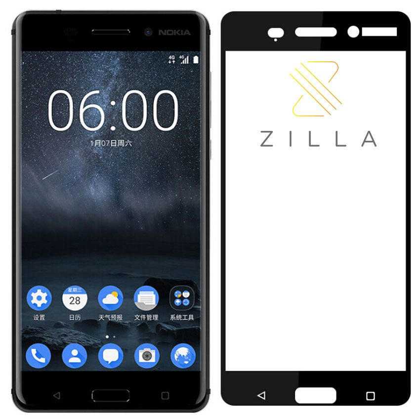 Zilla 2.5D Tempered Glass Curved Edge 9H 0.26mm for Nokia 6 .
