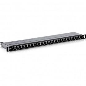 Linkwylan Cat6 Patch Panel 24 Port for 1U 19 Inch Server Rack - TC-P24C6AHS - Black - 2