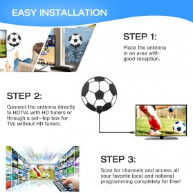 Powstro Antena TV Digital DVB-T2 High Gain 25dB with Amplifier - TFL-D143 - Black - 7