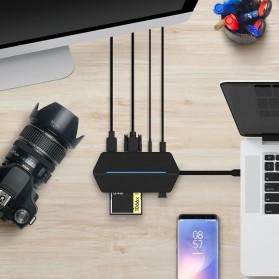 EASYA USB Type C to HDMI + VGA + Card Reader + USB Hub + PD Charge - C24 - Black - 9