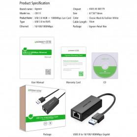 UGreen USB 3.0 to RJ45 Ethernet LAN Adapter - 20256 - Black - 9