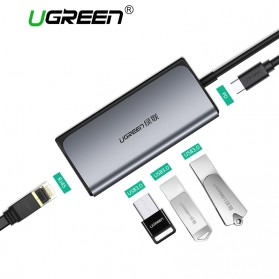UGREEN USB Type C LAN Adapter RJ45 with USB Hub 3.0 3 Port - CM141 - Silver