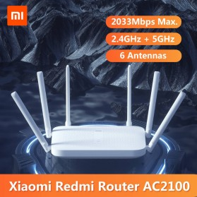 Xiaomi Redmi WiFi Router Gigabit AC2100 2033Mbps with 6 High Gain Antenna - White