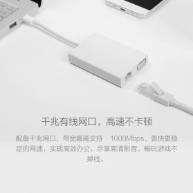 Xiaomi USB Type C to VGA Gigabit Ethernet 4k USB 3.0 Multifunction Adapter - ZJQ04TM - White - 3