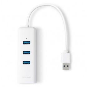 TP-Link Gigabit Ethernet LAN Adapter with 3 Port USB 3.0 Hub - UE330 - White - 2