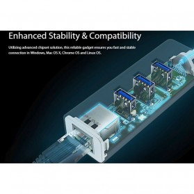 TP-Link Gigabit Ethernet LAN Adapter with 3 Port USB 3.0 Hub - UE330 - White - 5