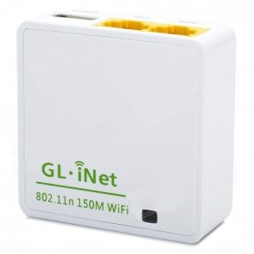 Paket GL.iNet OpenWRT Mini Smart Router 16MB ROM - 6416A + Adaptor Sunny 5V 2.5A Micro USB Plug - White