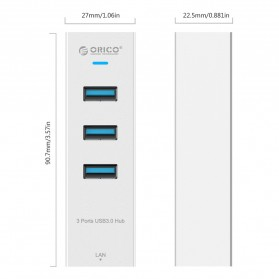 Orico Aluminium USB 3.0 Type A / Type C to Gigabit Ethernet LAN Adapter with 3 Port USB Hub - ASH3L-U3 - Silver - 3