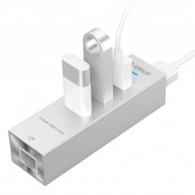 Orico Aluminium USB 3.0 Type A / Type C to Gigabit Ethernet LAN Adapter with 3 Port USB Hub - ASH3L-U3 - Silver - 4