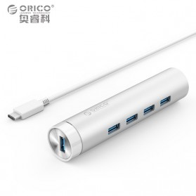 Orico SuperSpeed USB 3.0 Type A / C to Gigabit Ethernet LAN Adapter with 3 Port USB Hub - ARH4-U3 - Silver