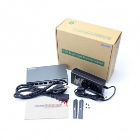 ESCAM POE 4+2 Port 10/100M Fast Ethernet Switch - PSE-6004 - Black - 5