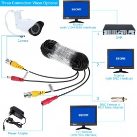 ESCAM BNC Cable for CCTV Security Camera 20M - Black - 4