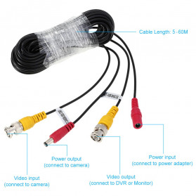 ESCAM BNC Cable for CCTV Security Camera 25M - Black - 2